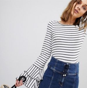 Free People | Tiered bell sleeve Striped top
